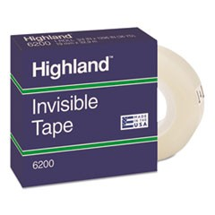 Highland Invisible Permanent Mending Tape, 1  Core, 0.75  X 36 Yds, Clear