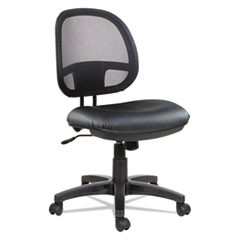 Alera Interval Series Swivel/Tilt Mesh Chair, Supports up to 275 lbs., Black Seat/Black Back, Black Base