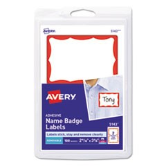 Printable Adhesive Name Badges, 3.38 x 2.33, Red Border, 100/Pack