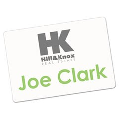 Printable Adhesive Name Badges, 3.38 x 2.33, White, 100/Pack