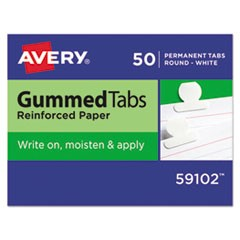 Gummed Reinforced Index Tabs, 1/2 in, White, 50/Pack