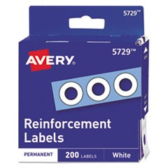 "Dispenser Pack Hole Reinforcements, 1/4"" Dia, White, 200/Pack, (5729)"