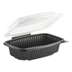 Anchor Packagingculinary Classics Microwavable Container, 34 Oz, Clear/Black, 100/Carton