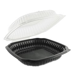 Culinary Classics Microwavable Container, 39 oz, Clear/Black, 100/Carton