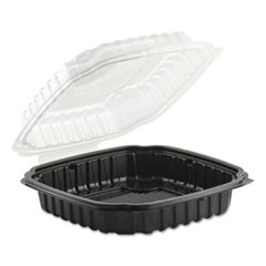 Culinary Basics Microwavable Container, 46.5 oz, 10.5 x 9.5 x 2.5, Clear/Black, 100/Carton