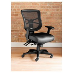 Elusion Series Mesh Mid-Back Multifunction Chair, Black Leather