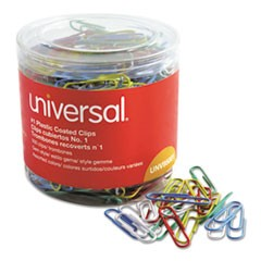 Plastic-Coated Paper Clips, Small (No. 1), Assorted Colors, 500/Pack