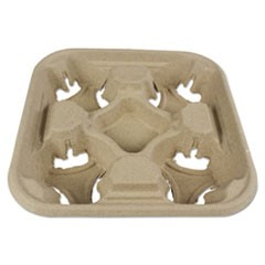 Molded Fiber Cup Tray, 8-32 oz, Four Cups, 300/Carton