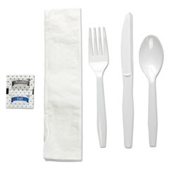 Six-Piece Cutlery Kit, Condiment/Fork/Knife/Napkin/Teaspoon, White, 250/Carton