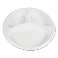 "Hi-Impact Plastic Dinnerware, Plate, 10"" Dia., 3 Compartments, White, 500/Carton"