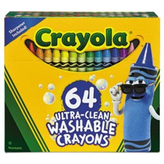 Washable Crayons, Assorted, 64/Set