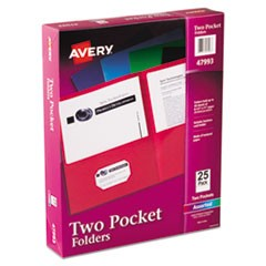Two-Pocket Folder, 20-Sheet Capacity, Assorted Colors, 25/Box