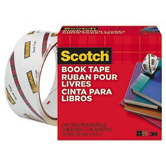 Scotch Book Tape, 3  Core, 1.5  X 15 Yds, Clear