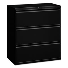 Three-Drawer Lateral File Cabinet, 30w x 18d x 39 1/8h, Black