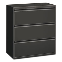 Three-Drawer Lateral File Cabinet, 30w x 18d x 39 1/8h, Charcoal
