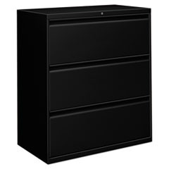 Three-Drawer Lateral File Cabinet, 36w x 18d x 39 1/2h, Black
