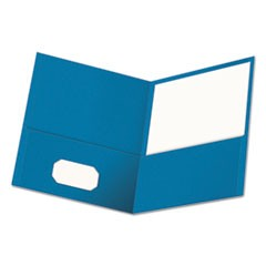Two-Pocket Portfolio, Embossed Leather Grain Paper, Light Blue, 25/Box