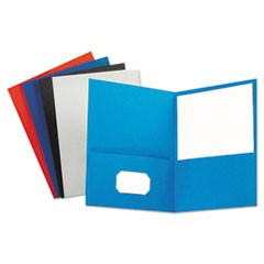 Two-Pocket Portfolio, Embossed Leather Grain Paper, Assorted Colors, 25/Box