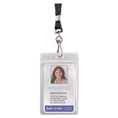 Resealable ID Badge Holder, Lanyard, Vertical, 2 5/8 x 3 3/4, Clear, 20/Pack