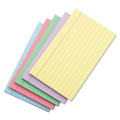 Index Cards, 4 x 6, Blue/Salmon/Green/Cherry/Canary, 100/Pack