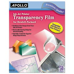 Apollo Quick-Dry Color Inkjet Transparency Film W/Handling Strip, Letter, Clear, 50/Box