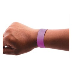 "Wristpass Security Wristbands, 3/4"" x 10"", Purple, 100/Pack"