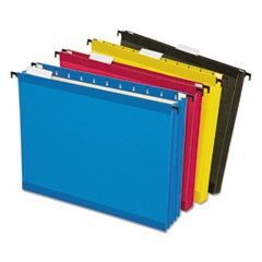 "SureHook Hanging Pocket File, Letter, 3 1/2"" Exp., 1/5 Tab, Assorted, 4/Pack"
