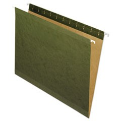 Reinforced Hanging File Folders, Letter Size, Straight Tab, Standard Green, 25/Box