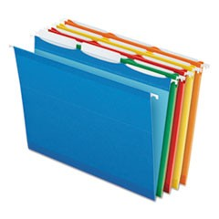 Pendaflex Ready-Tab Colored Reinforced Hanging Folders, Letter Size, 1/3-Cut Tab, Assorted, 25/Box