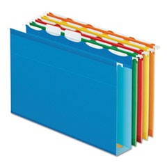 Ready-Tab Extra Capacity Reinforced Colored Hanging Folders, Letter Size, 1/5-Cut Tab, Assorted, 20/Box