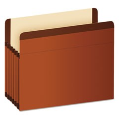 "Premium Reinforced Expanding File Pockets, 5.25"" Expansion, Letter Size, Red Fiber, 5/Box"