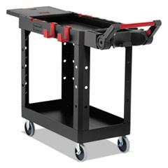 "Heavy Duty Adaptable Utility Cart, 2 Shelves, 17.8""w x 46.2""d x 36""h, Black"