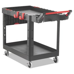 "Heavy Duty Adaptable Utility Cart, 2 Shelves, 25.2""w x 51.5""d x 36""h, Black"