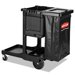 "Executive Janitorial Cleaning Cart, 12.1"" x 22.4"" x 23"", Black"