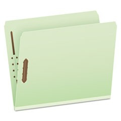 Heavy-Duty Pressboard Folders w/ Embossed Fasteners, Letter Size, Green, 25/Box