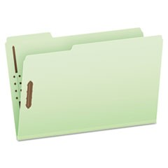 Heavy-Duty Pressboard Folders w/ Embossed Fasteners, Legal Size, Green, 25/Box