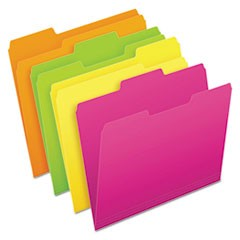 Glow File Folders, 1/3-Cut Tabs, Letter Size, Assorted, 24/Pack