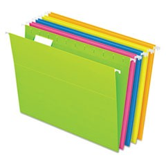 Glow Hanging File Folders, Letter Size, 1/5-Cut Tab, Assorted, 25/Box