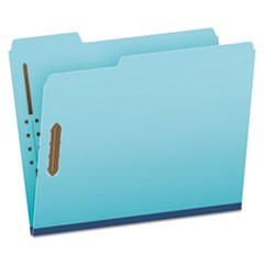 "Pressboard Folders, 2 Fasteners, 1"" Expansion, 1/3 Tab, Letter, Blue, 25/Box"