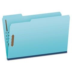 Heavy-Duty Pressboard Folders w/ Embossed Fasteners, Legal Size, Blue, 25/Box