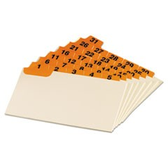 Manila Index Card Guides with Laminated Tabs, 1/5-Cut Top Tab, 1 to 31, 3 x 5, Manila, 31/Set