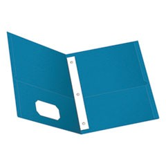 "Twin-Pocket Folders with 3 Fasteners, Letter, 1/2"" Capacity, Light Blue, 25/Box"
