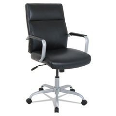 Alera Kathy Ireland Office By Alera Manitou High-Back Leather Office Chair, Up To 275 Lbs., Black Seat/Back, Smoking Gray Base