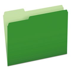 Colored File Folders, 1/3-Cut Tabs, Letter Size, Green/Light Green, 100/Box