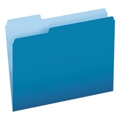 Colored File Folders, 1/3-Cut Tabs, Letter Size, Blue/Light Blue, 100/Box