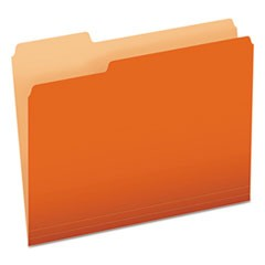 Colored File Folders, 1/3-Cut Tabs, Letter Size, Orange/Light Orange, 100/Box
