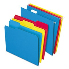 Combo Filing Kit, Letter Size, 1/3-Cut File Folders, 1/5-Cut Hanging File Folders, Assorted, 12 Sets
