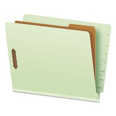 End Tab Classification Folders, 1 Divider, Letter Size, Pale Green, 10/Box