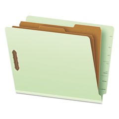 End Tab Classification Folders, 2 Dividers, Letter Size, Pale Green, 10/Box
