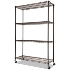 SHELVING,WIRE,48X18,4S,BK